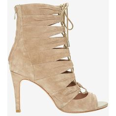 Joie Anja Lace-Up Suede Open Toe Bootie (575 NZD) ❤ liked on Polyvore featuring shoes, boots, ankle booties, booties, high heel ankle boots, beige suede booties, ankle boots, open toe booties and suede boots