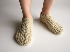 Braid Cable Ankle Socks  Hand Knitted  100 Natural by milleta, €21.00