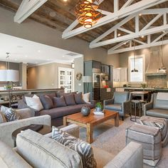 Alamo Farmhouse Remodel - farmhouse style with an industrial, contemporary feel. wood plank ceiling with white trusses