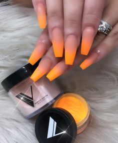 50 Gorgeous Ombre Matte Nail Designs You Will Love - Ongles Neon Nails, Dope Nails, Matte Nails, Pink Nails, Orange Ombre Nails, Bright Orange Nails, Yellow Nails, Perfect Nails, Gorgeous Nails