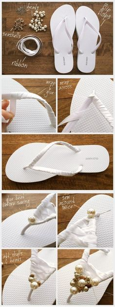 DIY Decorated Summer Flip Flops. We could wear these year round in Texas!!