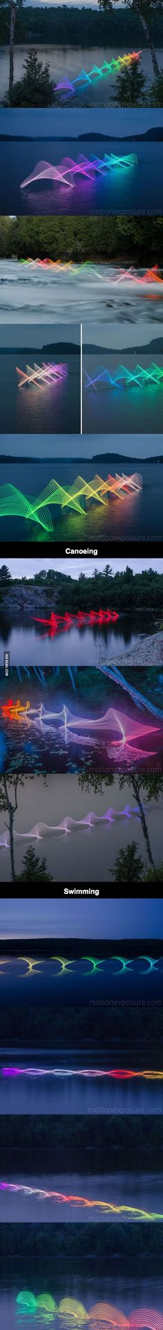 The Motions Of Canoers And Kayakers Revealed With LEDs In Long Exposure Photography.