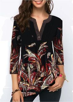 Pleated Front Split Neck Printed Blouse