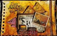 """27.5.2015 Come away with me...to see Egypt - art journal page. Izinks background in Canson Mix Media small art book. 14x21 cm (cca 5.5""""x8.5"""") http://romanassunnycreation.blogspot.ch"""