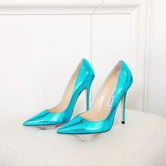 Jimmy Choo Aqua Metallic Pumps #JimmyChoo #Shoes #Choos