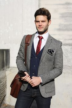 Red tie, grey jacket, pocket square