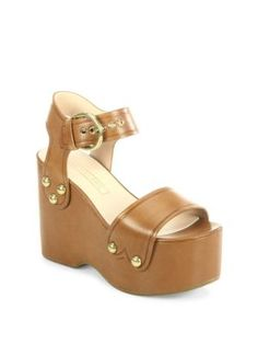 MARC BY MARC JACOBS Lana Leather Wedge Sandals. #marcbymarcjacobs #shoes #sandals