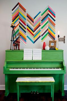 DIY Wood Sham Wall Art. Not these colors but so cute for our bedroom! || East Coast Creative: Green Painted Piano {Annie Sloan Chalk Paint}