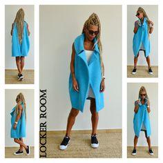 Blue wool vest / Maxi sleeveless coat / Loose Vest top / Extravagant blue top by ClothesByLockerRoom on Etsy