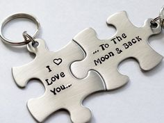 I Love You To The Moon And Back Matching Keychains.