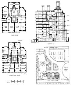 Buildings of the Domestic Revival and later | British History Online Figure 97: Albert Hall Mansions, Kensington Gore, layout plan and contract plans and section. (2870×3409)