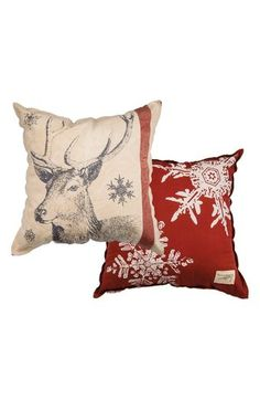 Primitives by Kathy 'Snowflake Deer' Accent Pillow