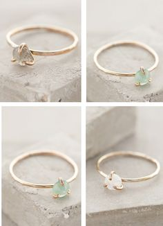 simple gold stone rings