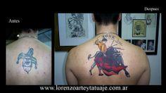 Tapado y Cover Up de viejos Tatuajes con Tatuajes Artisticos. Torero