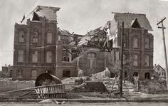 Damaged building by 1900 Galveston hurricane
