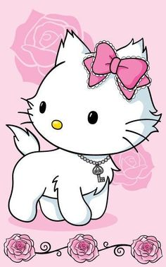 By Artist Unknown. Hello Kitty Pictures, Kitty Images, Hello Kitty Iphone Wallpaper, Kawaii Wallpaper, Sanrio Characters, Cute Characters, Hello Kitty Imagenes, Images Kawaii, Hello Sanrio