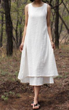Wealfeel Literary All Match Sleeveless Dress - Best Maxi Dress Best Maxi Dresses, White Maxi Dresses, Women's Fashion Dresses, Dresses For Sale, White Dress, Pajamas Women, Elegant, Lady, Womens Fashion