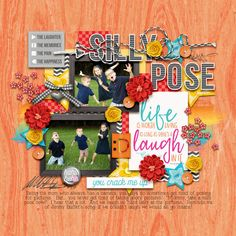 Digital Scrapbook Layout using Laughter by Heather Roselli and Treasured Memories templates by Two Tiny Turtles