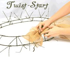 decorating with wire mesh ribbon | Burlap, Wreath, Deco Mesh, Tutorial, DIY, Twig Works, Natural Decor