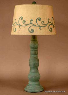 Distressed Blue Cottage Vine Table Lamp