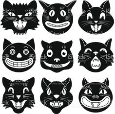 Black and white images of Halloween cat heads royalty-free stock vector art