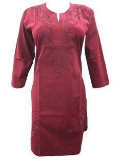Womens Indian Tunic Cotton Floral Embroidered Ethnic Kurti Maroon Long Kurta  #Mogulinterior #Kurti #Casual