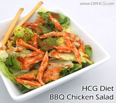 Tossed BBQ chicken salad for phase 2 of the HCG diet... unbelievably good! www.diyhcg.com