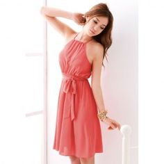 Wholesale Graceful Off-The-Shoulder Solid Color Chiffon Dress With Petticoat For Women (WATERMELON RED,ONE SIZE), Chiffon Dresses - Rosewholesale.com
