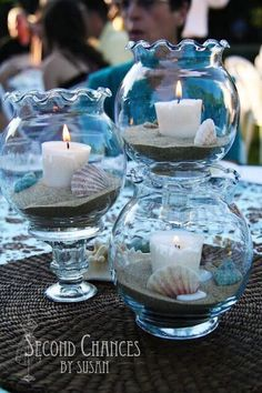 A beautiful centerpiece for the tables at an under the sea themed party. Adorable fishing bowls that contain sand, seashells, and a small lighted candle.