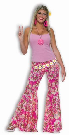 Bell Bottom Pants - Ladies Hippie Costume - These fun, psychedelic pink bell bottoms are perfect for the girly hippie this Halloween.The pants are pink with psychedelic patterns and yellow piece sign flowers. They have an elasticized waist and huge flaring bell bottom legs. A great costume piece for any hippie, 70's or psychedelic themed Halloween party.Costume Includes: Pants ONLY #hippie #yyc #costume