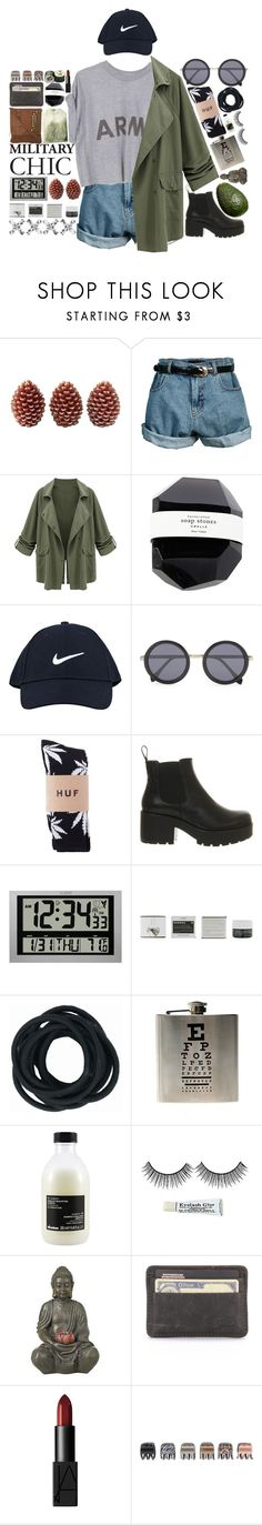 """Military Chic"" by puhizaxox ❤ liked on Polyvore featuring Retrò, NIKE, Le Specs, Vagabond, La Crosse Technology, Korres, Davines, Universal Lighting and Decor, NARS Cosmetics and Forever 21"