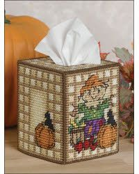 Scarecrow Tissue Box (plastic canvas)