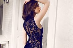 Daalarna Couture Black Lace and Silk Evening Dress_Secret collection Dress Collection, Evening Dresses, High Neck Dress, Glamour, Couture, Wedding Dresses, Fashion Design, Outfits, Beautiful