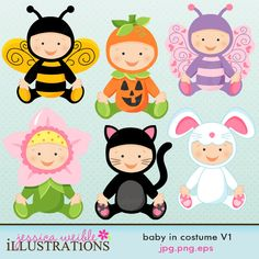 Baby In Costume set comes with 6 cute babies in various costumes including: a baby bee costume, a flower costume, a pumpkin costume, a cat costume, a butterfly costume and a bunny costume. Clipart Baby, Cute Clipart, Flower Clipart, Cute Costumes, Baby Halloween Costumes, Baby Costumes, Halloween Clipart, Flower Costume, Butterfly Costume