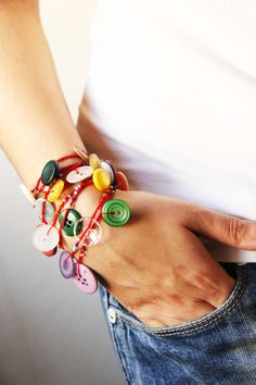 Buttons necklace / buttons bracelet   versatile by TomBjornDesigns, $33.50