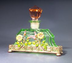 Czechoslovakian Perfume Bottle, circa 1920's,