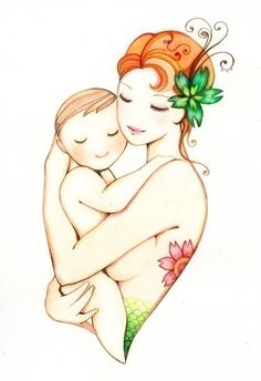 """Mother and baby art print, """"Mermaid"""" 5x7 Mother and child nursery art painting, baby shower gift"""