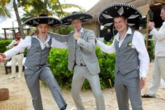 It is possible to have a wedding in Mexico without sombreros...but not nearly as much fun. Destination wedding in Tulum at the Ana y Jose Beach Club. Mexico wedding photographers Del Sol Photography