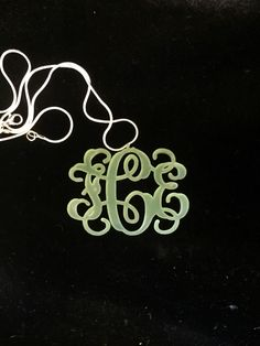 """Monogram Necklace ($31.99) available in several colors. Designate desired size and color. 1-2.25"""" tall. With chain as shown. Vine or block script. To order email engrave9@gmail.com Engravings Unlimited"""