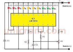 Éste circuito monitor de carga de batería, hace posible el monitoreo o control del proceso de carga de una batería típica de automóvil de 12 voltios. Electronics Projects, Hobby Electronics, Electronics Components, Electronic Circuit Design, Electronic Engineering, Dc Circuit, Circuit Diagram, Audio Amplifier, Audio Speakers