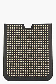 SAINT LAURENT Black leather studded Paris iPad case