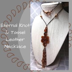 Eternal Knot with Beaded Tassel Leather Necklace, Bohemian Necklace, Copper & Brown Necklace, Carved Eternal Knot, Gift for Her by SHBeadCreations on Etsy