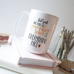 """""""Whoa, what's this?! My NEW 15oz coffee mug for my fall collection! I have 6 more designs to show you all but here is one for now! I'll be listing them by…"""""""