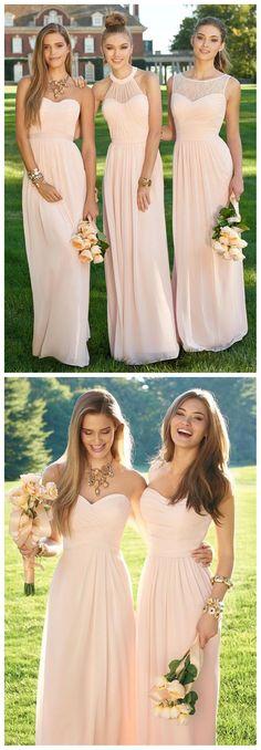 Blush Pink bridesmaid dresses, Long bridesmaid dresses, Custom bridesmaid dresses, cheap bridesmaid dress, affordable bridesmaid dresses, 16388