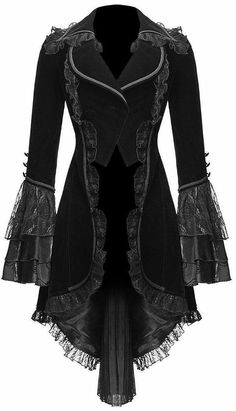 black, lace fringe, victorian coat