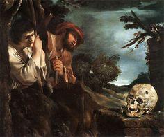 GUERCINO, Giovanni Francesco Barbieri (Cento, 1591 - Bologna, 1666): Et in Arcadia ego, 1618, olio su tela, 78 x 89 cm - Gallery: Galleria Nazionale d'Arte Antica, Palazzo Barberini, Roma