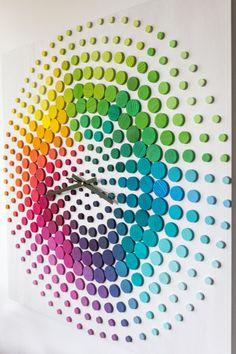 Time of Rainbow Large Oversize Wall Clock Wood Wall Sculptures, Sculpture Art, Unusual Clocks, Art Deco, Acrylic Colors, Diy Clock, Mosaic Art, Wood Paneling, Wood Wall