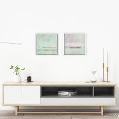 """This is the contemporary painting """"Blissful Waves"""" by Max Kulich displayed with modern furniture and decorative objects. Contemporary Interior, Contemporary Paintings, Original Paintings, Abstract Paintings, Decorative Objects, Art Blog, Modern Furniture, Gallery Wall, Interior Design"""