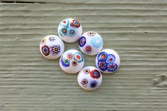 Vintage Spanish Millefiori New Old Stock Round White Cabochons 18mm // Cabochon Jewelry Supplies // Glass // Blanco Fantasia // Set of 6 by SpiralCreations on Etsy