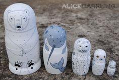Arctic Creatures nesting dolls